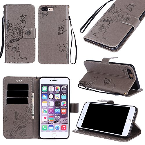 Black Sale Friday Deals Cyber Deals Monday-iPhone 8Plus/iPhone 7 Plus Wallet Case Cover-PU Leather Embossed Flowers Butterfly Ant Card Holders Stand Magnetic Closure Wrist Strap (iPhone 8Plus, Gray)]()