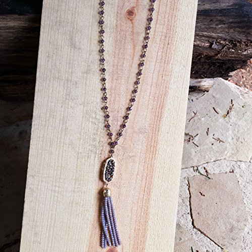 Long Purple Necklace,Purple Tassel Necklace,Long Beaded Tassel Necklace,Chunky Long Tassel Necklace,Long Crystal Beaded Necklace