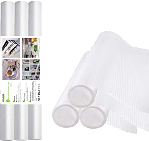 "HOMEMA 3 Rolls Shelf Liner, Drawer Liner, Cabinet Liner, Non-Adhesive, Waterproof, Non-Slip EVA Mat Transparent for Drawers, Shelves, Cabinets, Storage, Kitchen, Rug Pad and Desks, White 17.5"" x 59"""