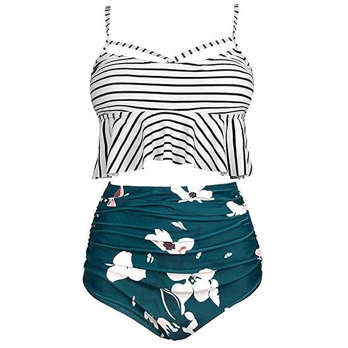 580c92971b Amazon.com: NOMUSING Womens Floral Print Ruffle Bikini Tops Ruched ...