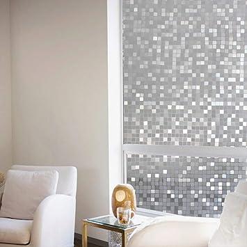 Hyq521 Pvc Película Estática Lámina De Vidrio 3D Celosía Mosaico Ventana Transparente Flores 45 * 100Cm: Amazon.es: Bricolaje y herramientas