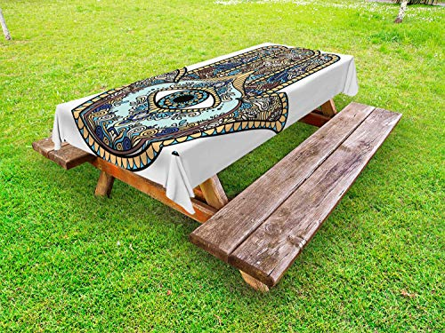 "Lunarable Hamsa Outdoor Tablecloth, Sign with All Seeing Eye Vintage Bohemian Zentangle Artwork, Decorative Washable Picnic Table Cloth, 58"" X 84"", Multicolor"