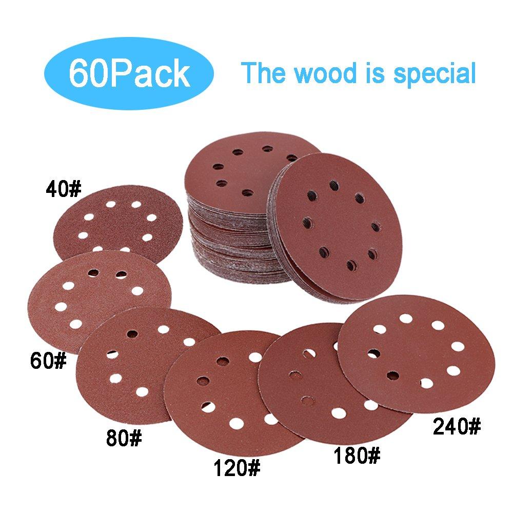 WeiBonD 60 PCS Sanding Discs, 8 Holes 5 Inch Sandpaper Assorted to Polishing, Hoop and Loop 40 60 80 120 180 240 Grits for Black & Decker and Bosch Random Orbital Electric Sander (Red)