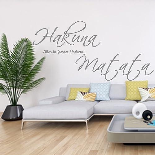 Wandschnörkel ® Wandtattoo HM~AA134 ~HAKUNA MATATA Alles in bester Ordnung  ~Wohnzimmer Flur Schlafzimmer Wand Aufkleber Spruch Wanddekoration ...