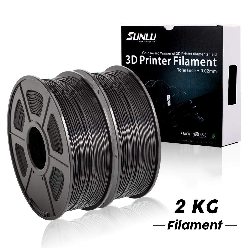 PLA+ Filament 3D Printer Filament,2kg Spool (4.4 lbs) 1.75mm,Dimensional Accuracy +/- 0.02 mm, 2 Packs of Black by SUNLU