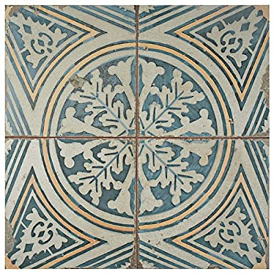"SomerTile FPEFTFS1 Reyes Ceramic Floor and Wall Tile, 17.75"" x 17.75"", White/Yellow/Blue/Beige"