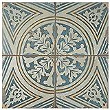 SomerTile FPEFTFS1 Reyes Ceramic Floor and Wall Tile, 17.63'' x 17.63'', White/Yellow/Blue/Beige