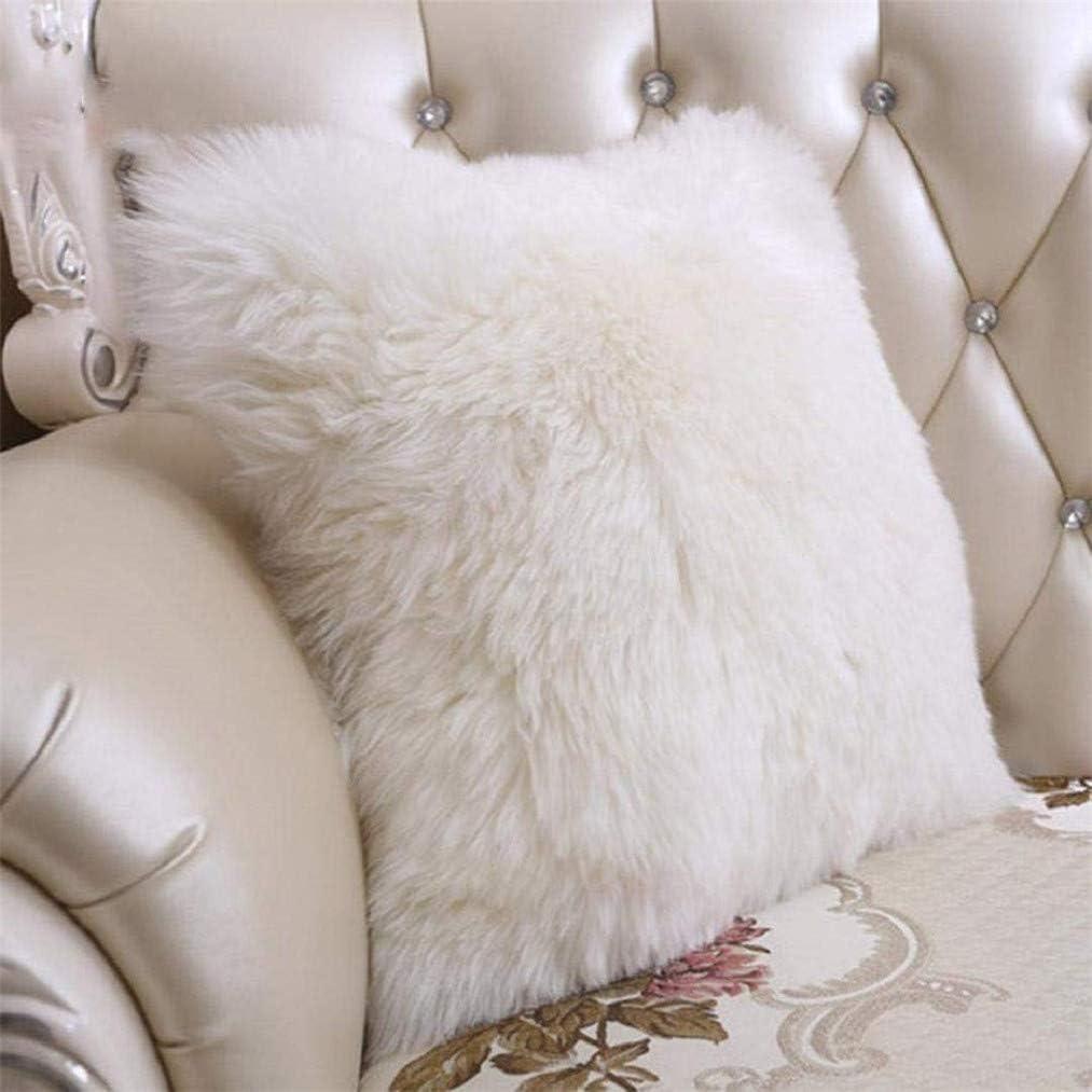 Fibres synth/étiques Sweetwill Housse de coussin d/écorative imitation fourrure et cuir de mouton beige 40 x 40 cm//15 x 15 In