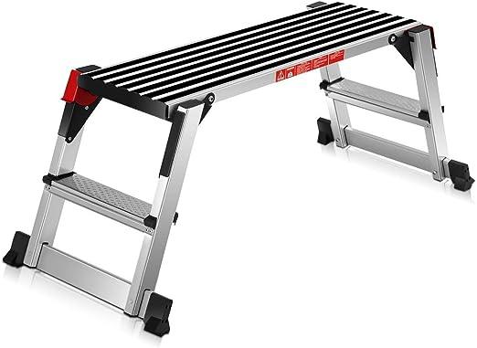 FAMLYJK Taburete de pie Escalera de Mano Plegable Plataforma de Aluminio Banco de Trabajo Antideslizante Escalera de Taburete de Yeso Capacidad de 330 LB: Amazon.es: Hogar