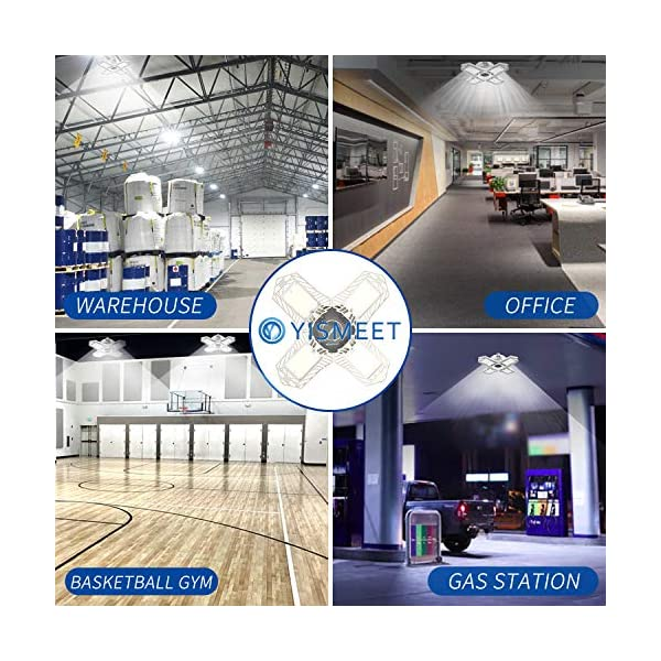 LED Garage Lights, New Upgrade 150W Deformable Four Leaf Ceiling Light, 15000LM Ultra-Bright Trilight Lighting with 4… 7