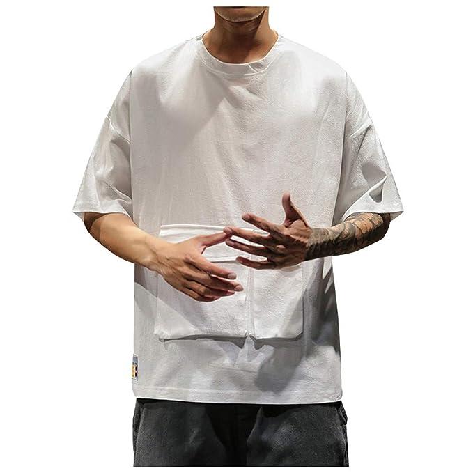 Camisetas Hombre Manga Corta La Camisa Basicas Algodon Blusa 2019 Verano Nuevo Tops Deportivas Gym Running Polo T-Shirt ZOELOVE Bolsillo Suelto con Cuello Redondo y Camiseta de Manga Corta: Amazon.es: Ropa y