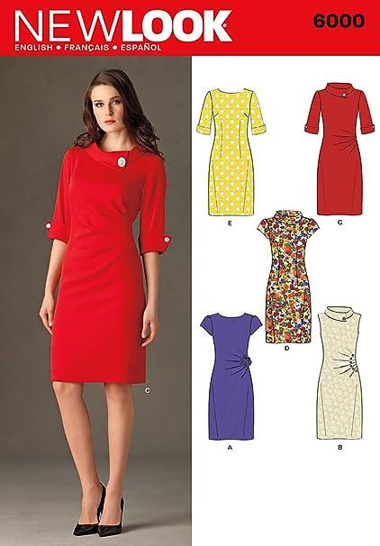 New Look 6000 - Patrón de costura para vestido de señora (tallas 30 a 42