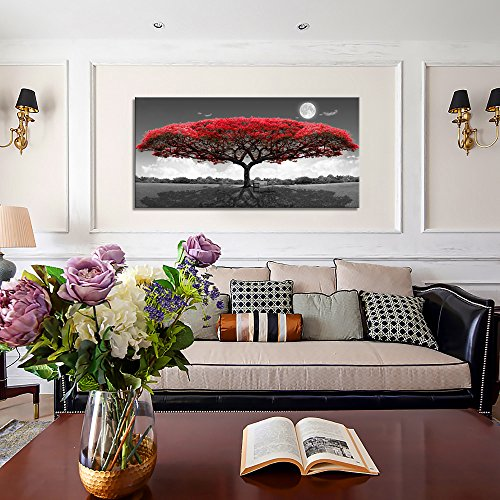 """Youkuart Canvas Print Wall Art red tree Painting For Living Room Decor And Painting Wall Art Decor 20\"""" x 40\"""" Pieces Framed wall decor artwork Office Gifts Art Ready to Hang for Home Decoration."""