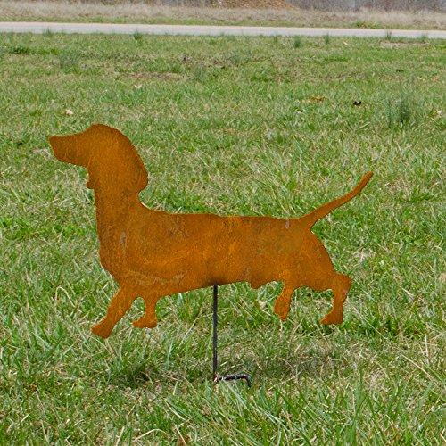 Dachshund garden stake - Dachshund outdoor home decor - Rusted metal Dachshund - Wiener Dog metal garden stake - Wiener dog on a stick