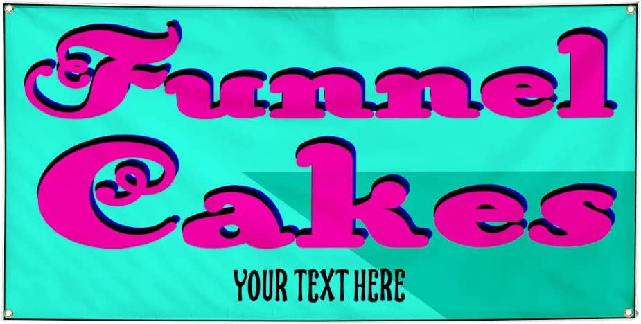 Custom Industrial Vinyl Banner Multiple Sizes Funnel Cakes Style B Personalized Text Here Funny and Novelty Outdoor Weatherproof Yard Signs Pink 10 Grommets 56x140Inches