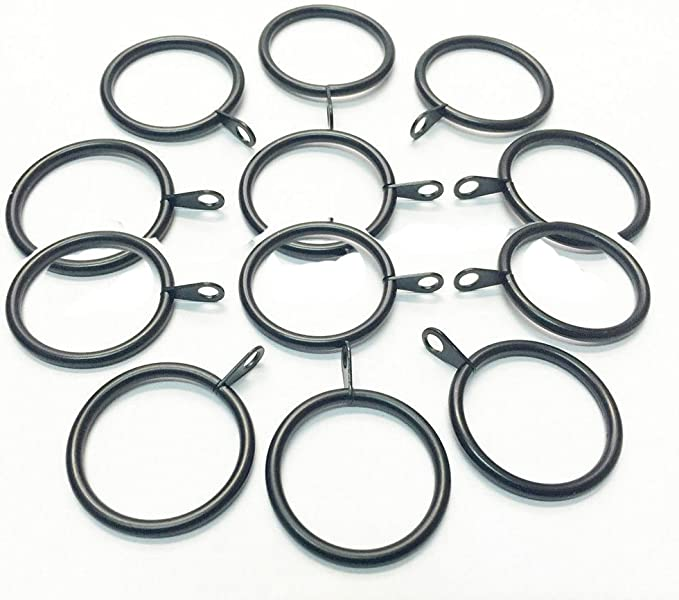 METAL CURTAIN RINGS WITH CLIPS Pole Rod Voile Net Ring Curtains Hanging 30mm UK