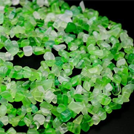 34 Rolled glass beads on strand Green 13 mm