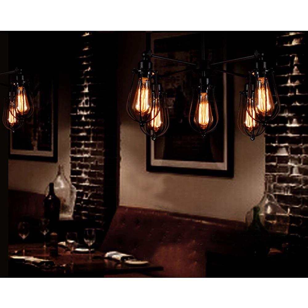Industrial cage chandelier 5 lights vintage pendant light metal edison hanging ceiling light fixtures adjustable and rotatable loft style for Kitchen Island Dining Table Bedroom Hallway by KJLARS (Image #4)