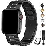 Bestig Compatible for Apple Watch Band 38mm 40mm 42mm 44mm Premium Solid Stainless Steel Metal Replacement Adjustable…