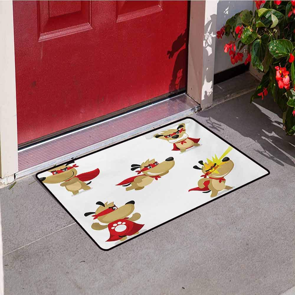 Jinguizi Dog Commercial Grade Entrance mat Superhero Puppy with Paw Costume and Mystic Powers Laser Vision Supreme Talents for entrances garages patios W47.2 x L60 Inch Red Cream White