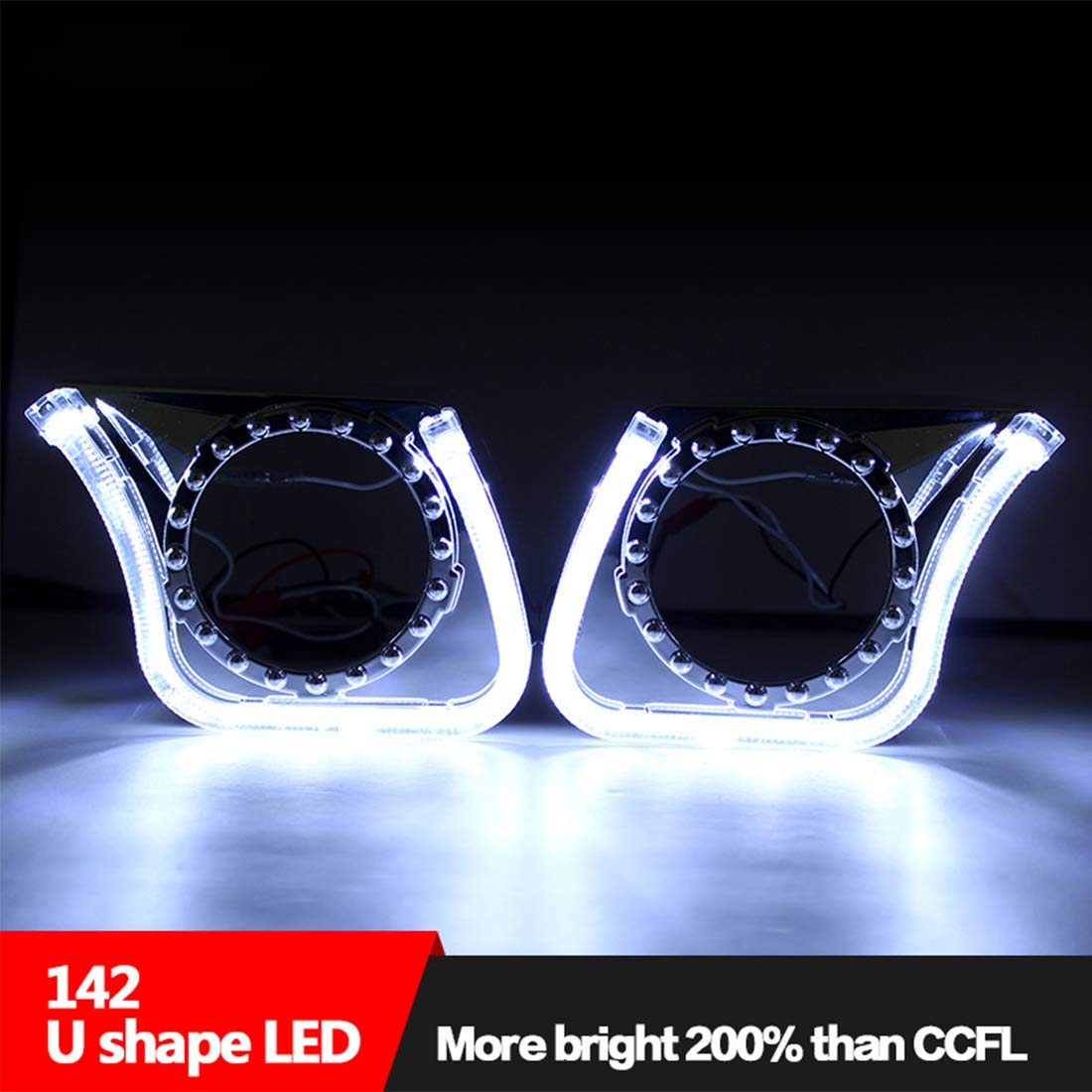 Fari Angel Eyes ZHUOYUE 2Pcs 3.0Inch Universal U Shape FLAT LED Angel Eyes Devil Eyes Bi Xenon Proiettori U Type Headlight