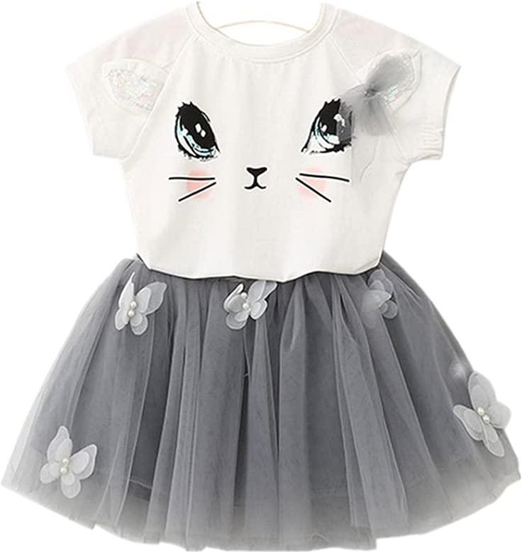 Landfox Ropa para bebés,Patrón de Gato Camisa Top Mariposa Tutu Falda Conjunto de Ropa