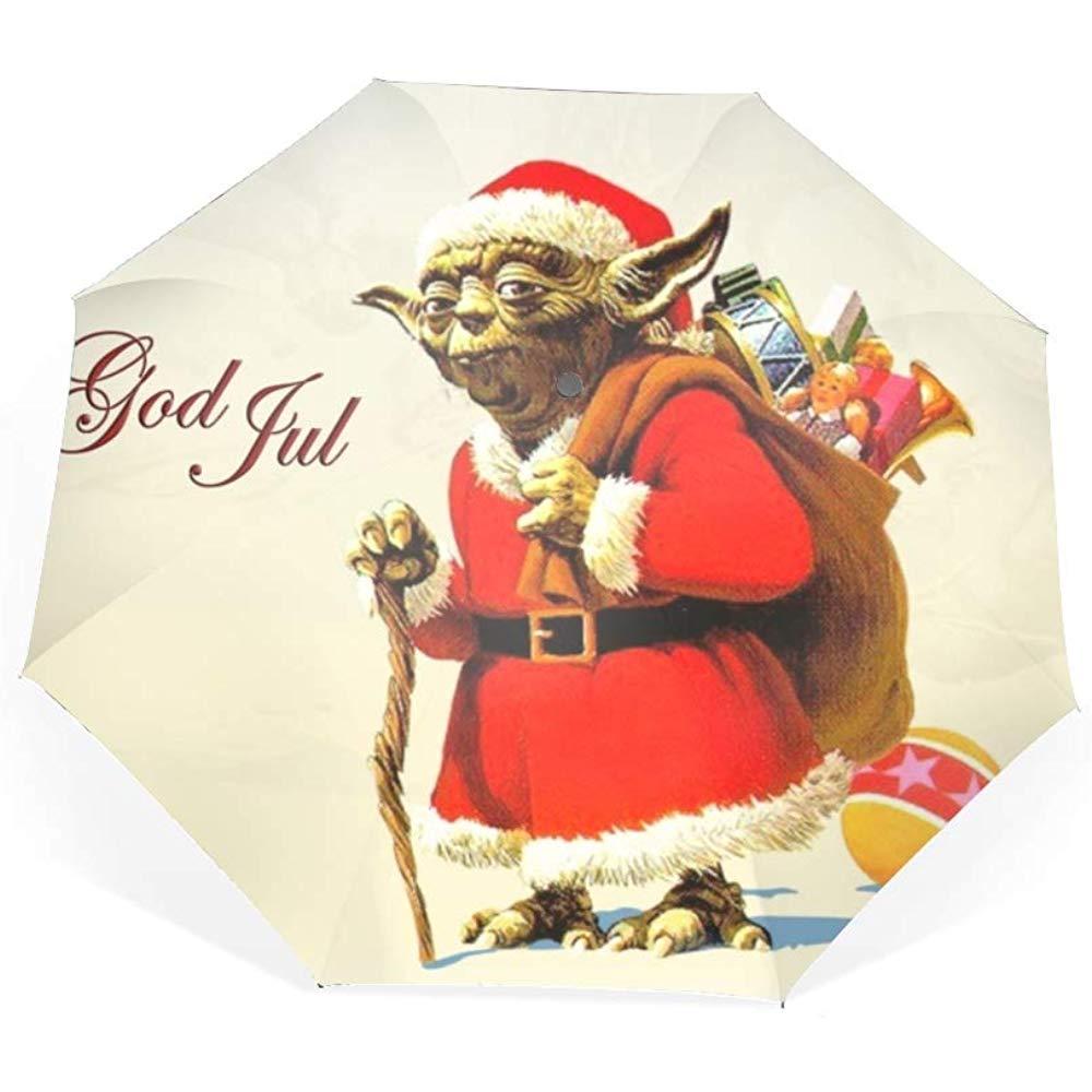 Holiday Christmas Santa Toy Yoda Paraguas de Viaje Paraguas Plegable a Prueba de Viento Auto Open Close y Mango ergon/ómico