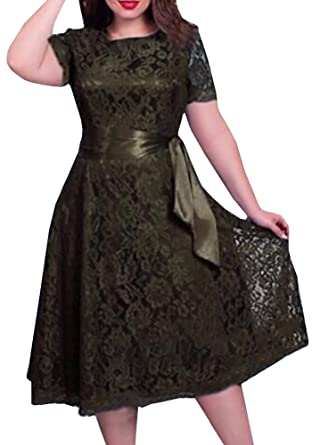 Plus Size Floral Lace Dress for Women Vintage Bridesmaid Wedding Formal Midi Dresses