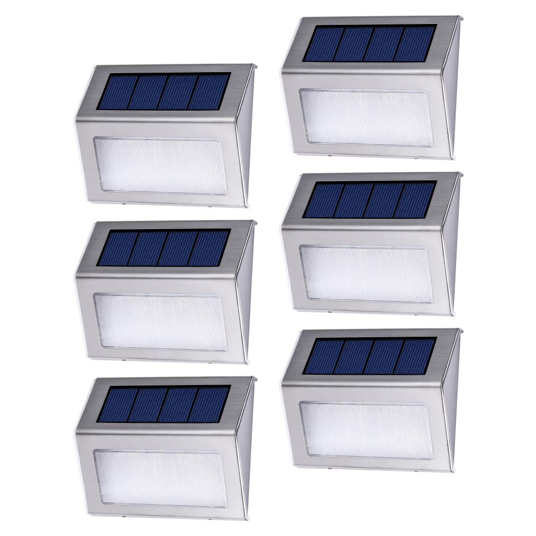 Dyxin 6 Pack Solar Deck Lights Bright 3 LED Stair Lights Auto On/Off Waterproof Stainless Steel Step Lights Outdoor Solar Lamp for Patio Walkway Garden Fences Pathway Wall Paths (White Light)