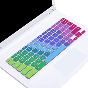 "Colorful Keyboard Cover for 2019/2018/2017 Newest Acer Premium R11 11.6 / Chromebook 11 CB3-131 CB3-132 / Chromebook R 11 CB5-132T / 13.3"" Chromebook R 13 CB5-312T Chromebook Keyboard Skin, Rainbow"