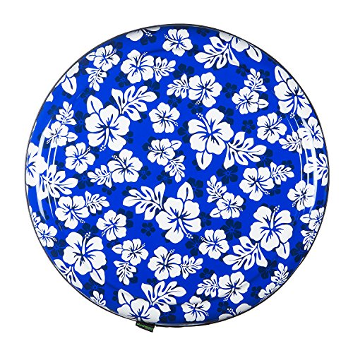 35'' Rigid Tire Cover (Plastic Face & Vinyl Band) - Hawaiian Print - Blue by Boomerang (Image #1)