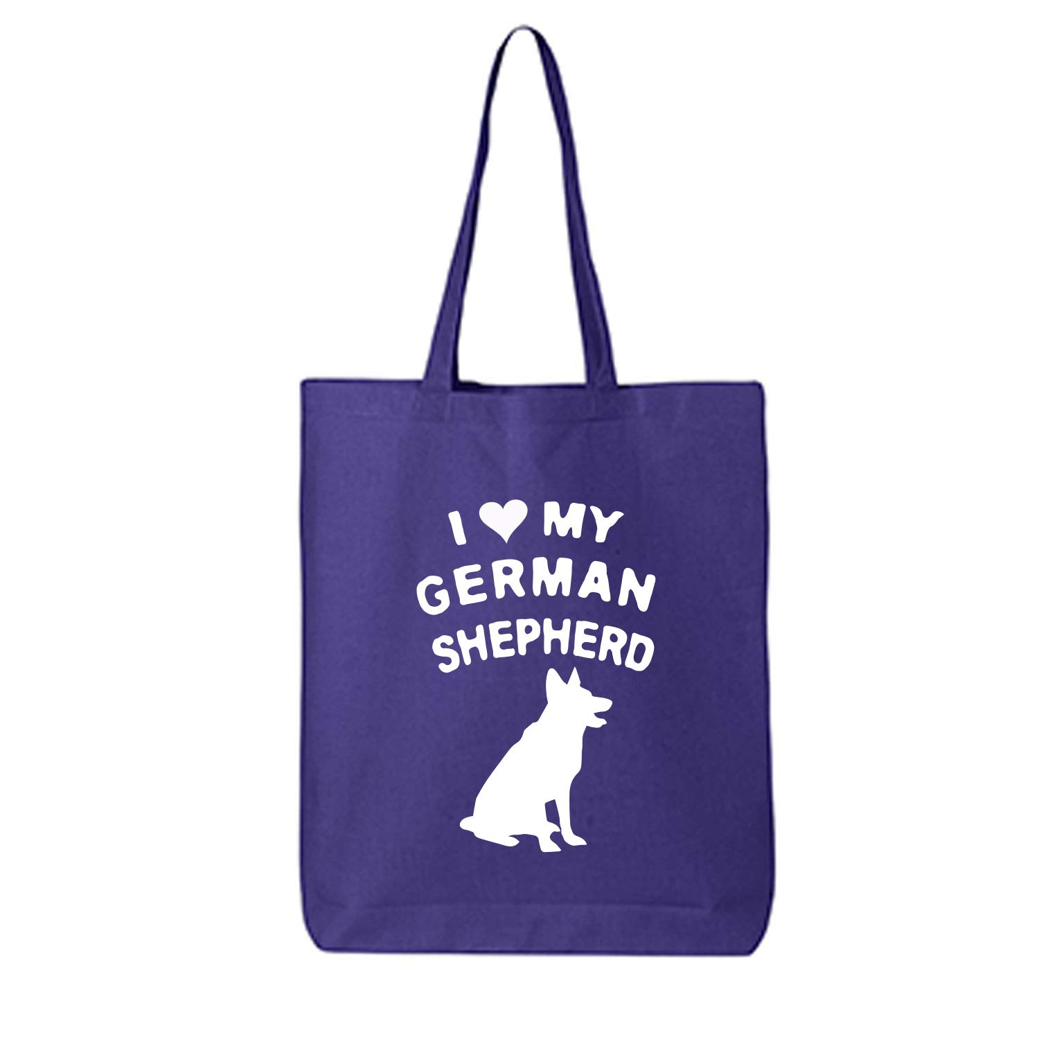 I LOVE MY GERMAN SHEPHERD Cotton Canvas Tote Bag in Purple - One Size
