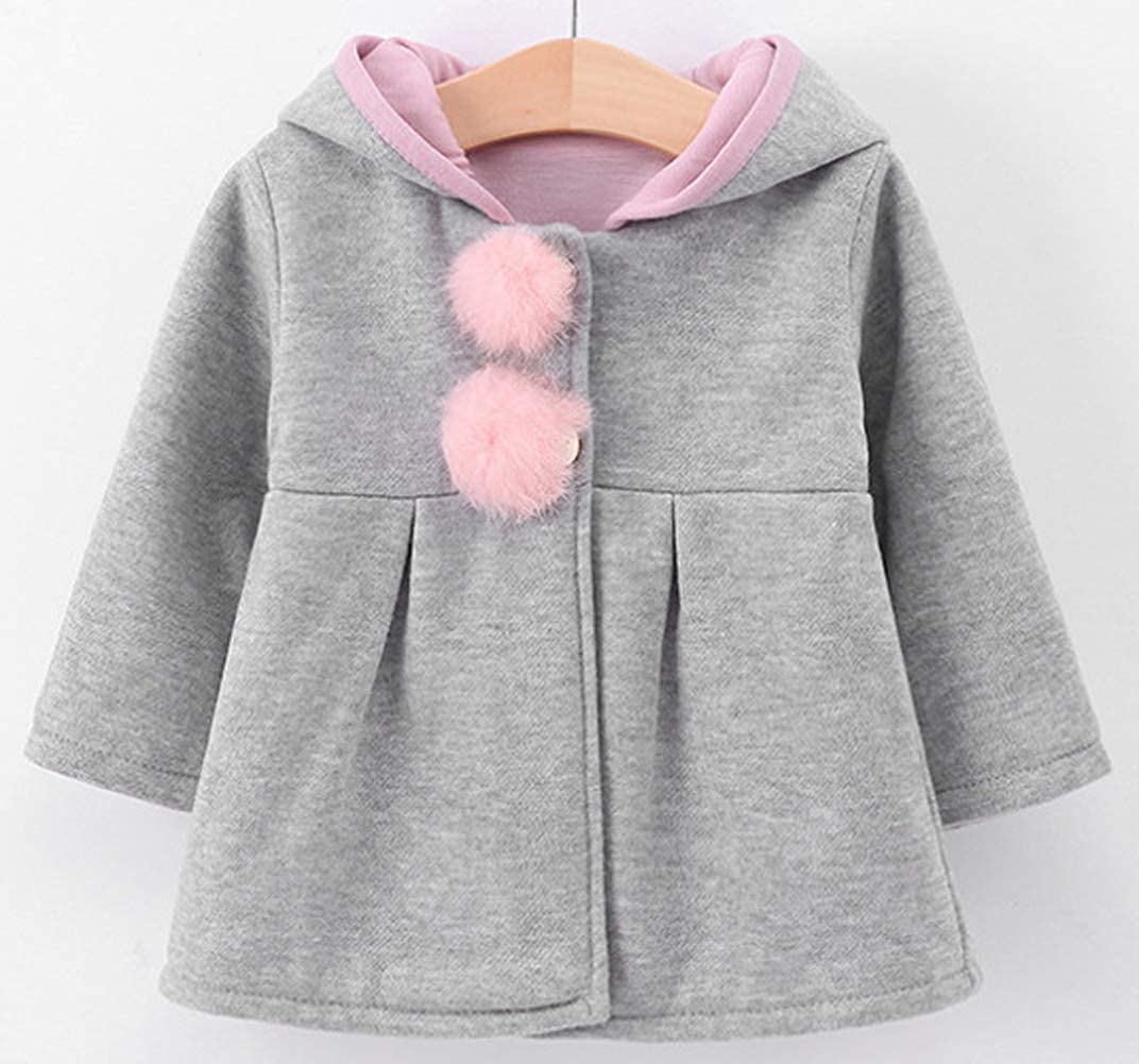 Thrivqyaf Baby Girls Toddler Kids Fall Winter Cute Ears Hood Hoodie Coat Outerwear Jacket