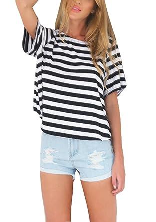 T-Shirt Damen Oberteile Kurzarmshirts Schwarz   Weiß Gestreift Shirts  Aushöhlen Rücken Sommer Casual Tops f71c51d28d