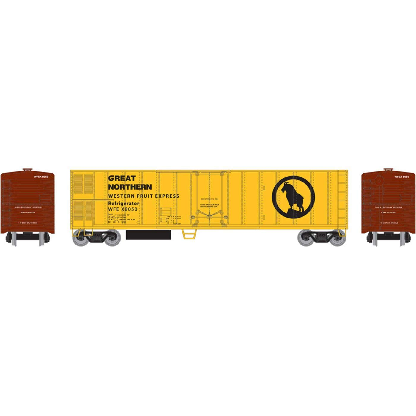 Athearn HO 50' Smooth Side Mechanical Reefer GN WFEX #8050, RND71674