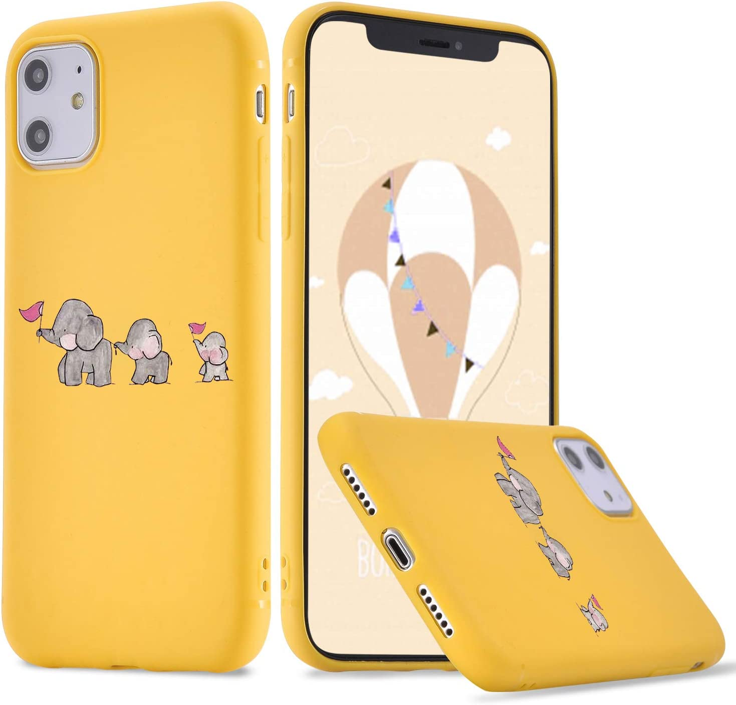 LuGeKe Elephant Phone Case for iPhone7 Plus/iPhone 8 Plus, Cute Elephant Patterned Case Cover,Soft TPU Cover Flexible Ultra Slim Anti-Stratch Bumper Protective Boys Phonecase(Elephant Family)
