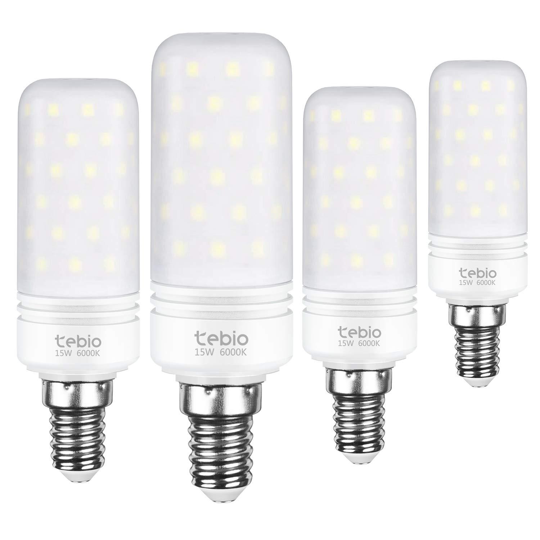 Tebio LED Plata Maíz Bombillas 15W E14 6000K Blanco Frío LED Candelabros bombillas, 120W Bombilla Incandescente Equivalente, 1500LM, LED vela Bombillas No ...