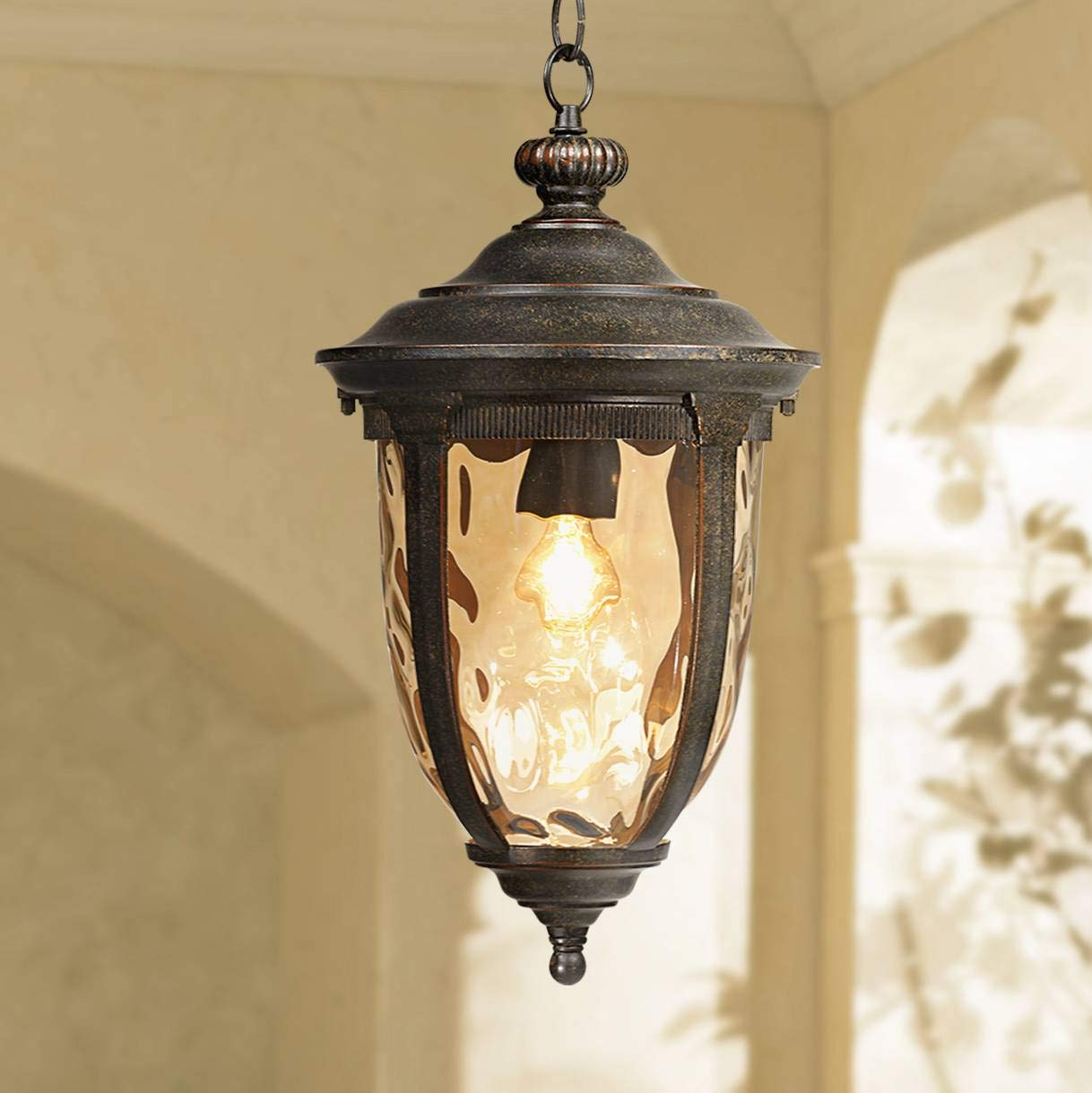 Bellagio Rustic Outdoor Ceiling Light Bronze 18'' Hammered Glass for Exterior Entryway Porch - John Timberland