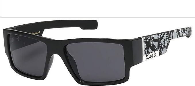 Locs Sunglasses Mens Rectangular Matte Black Skull Print Shades UV 400