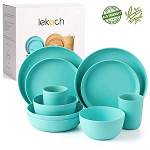 Lekoch 10-Piece Bamboo Tableware Set Eco-friendly Dinnerware for 2 Anti-bacterial (Dinner & Salad Plate Cup Large & Small Bowl) Dishwasher Safe
