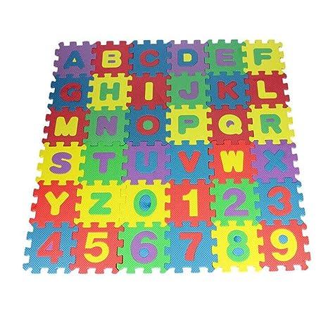 HOMCOM Alfombra puzle 192x192 cm Ni/ños 3 a/ños 36 Piezas Numeros 0 al 9 y 26 Letras Alfabeto Goma Espuma