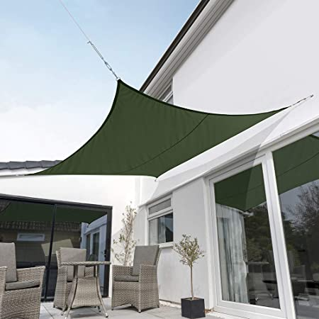 Kookaburra Waterproof Green Sun Shade Sail Garden Patio Gazebo Awning Canopy 98 UV Block with Free Rope 17ft 9 Square