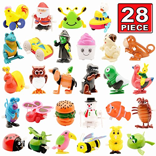 Wind up Toy,28 Pack Assorted Clockwork Toy Set,Original Color Wind up Animal Party Favors Toy Great Gift for Boys Girls Kids Toddlers(Contents and Color May Vary)