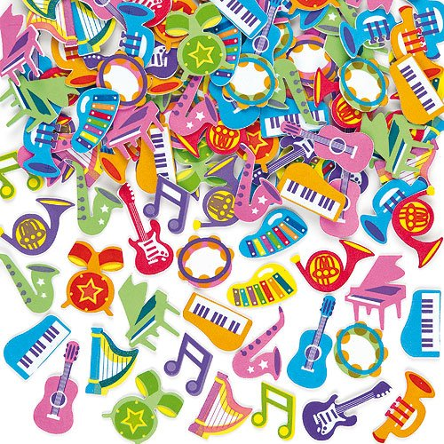 Baker Ross Musical Foam Stickers (Pack of 100) for Kids Crafts, Collage, and Scrapbooking