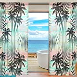 SEULIFE Window Sheer Curtain, Tropical Summer Palm Tree Leaves Voile Curtain Drapes for Door Kitchen Living Room Bedroom 55x84 inches 2 Panels