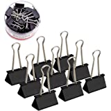 Medium Black Paper Binder Clips Clamps, Coideal 24 Pack 1 1/4 Inch Metal Bulldog Clip Photo Picture Bag Sealer File Document Clip Holder for Office Home Kitchen (Black, 32 mm)