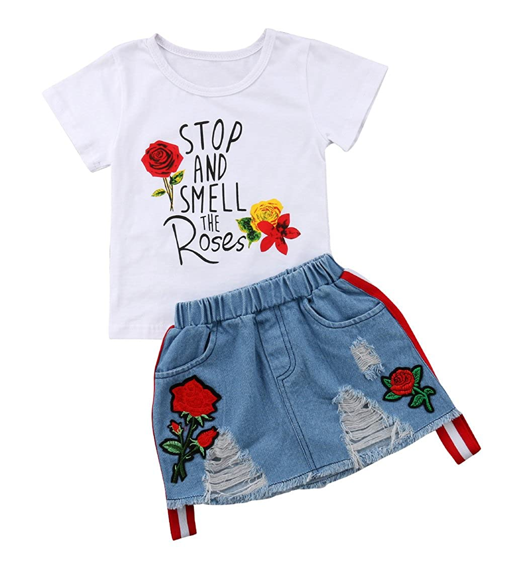 Grofowow Toddler Baby Girls Smell The Rose T shirtTops + Denim Skirts Clothing Outfit Set