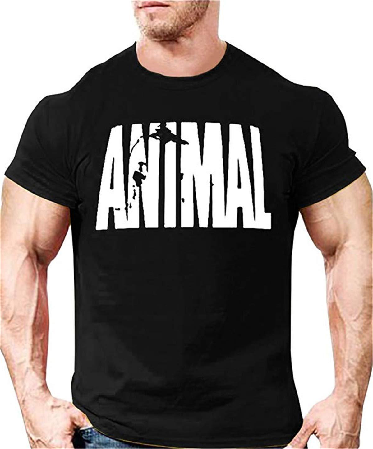 Cabeen Uomo Ragazzo Animal palestra Bodybuilding Top T-Shirt Cotone Maglietta Manica corta