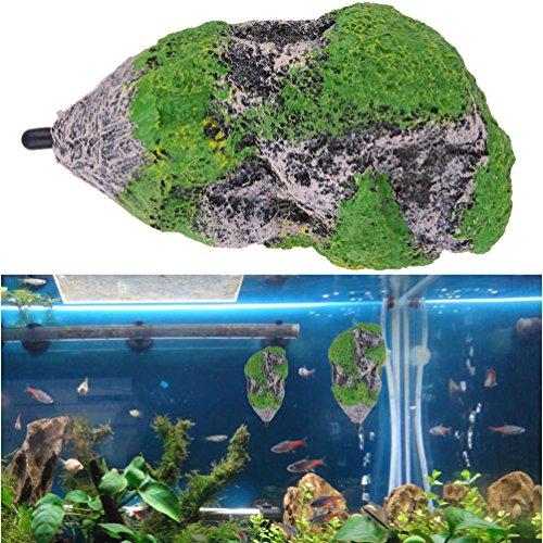 Petacc Aquarium Decorations Simulated Floating Rock Decoration Resin Fish Tank Ornament Aquarium Landscape Rocks with Suction Cups, M (Simulated Rock)