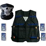 Yalulu Elite Taktische Weste mit 40 Stück Blau Weiche Schaumstoff Darts + 1 Schädel-Maske Set für Nerf Gun N-Strike Elite Series